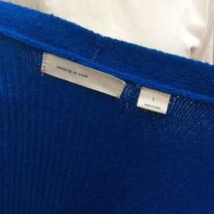Anthropologie Sweaters - Vibrant Blue Sleeping on Snow Tie Cardigan Sweater